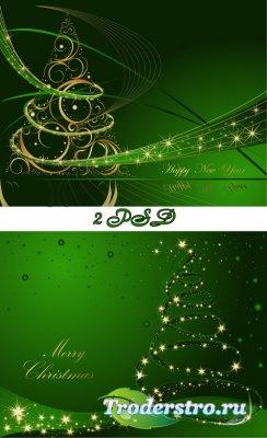 2 Новогодних многослойных исходника в зелёном цвете