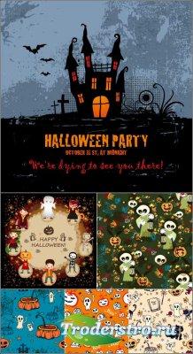 Постер вечеринка Хэллоуин | Halloween haunted pumpkin Vector