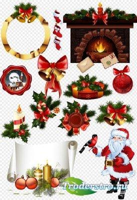Клипарт - Новогодние украшения свечи с шарами и свитком для поздравлений на ...