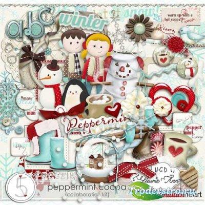 Детский зимний скрап-комплект - Какао с мятой