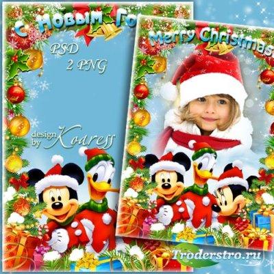 Детская рамка для фото с героями Диснея - Веселый Новый год