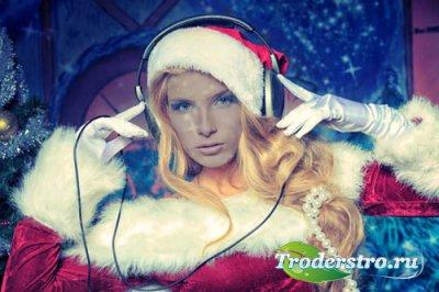 Шаблон женский - Снегурочка - новогодний DJ