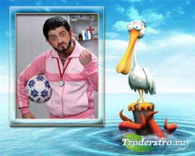 Рамка для фотошопа - Смешной пеликан