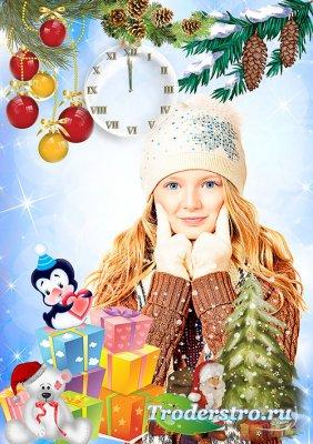 Новогодняя рамка – Дед мороз принес игрушки