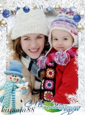 Новогодняя рамка для фото с снеговиком - С Новым годом!
