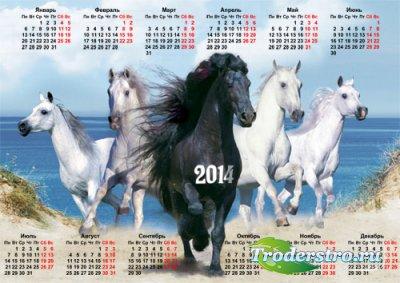 Настенный календарь - Пять красивых коней