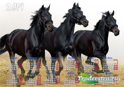 Настенный календарь - Три черных мустанга