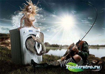 Шаблон для фотомонтажа - Креативный улов на рыбалке