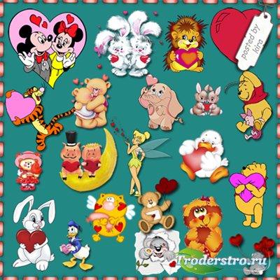 Детский клипарт  - Герои мультфильмов и зверушки с сердечками