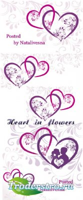 Векторные фоны с сердечками и декоративными элементами