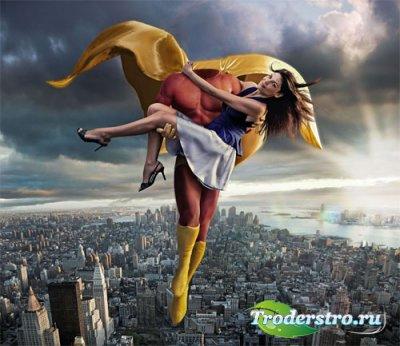 Шаблон мужской - Супер герой спасает девушку