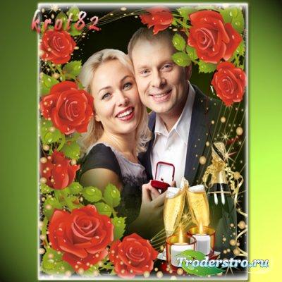Романтическая рамка с розами и шампанским - Опять весна, опять любовь