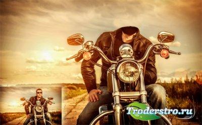 Шаблон для мужчин - Байкер на своем мотоцикле