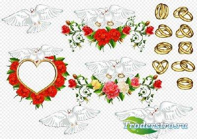 Клипарт- Свадебные голуби с обручальными кольцами рамка из роз в виде сердц ...