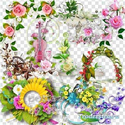 Цветочный декор - клипарт без фона