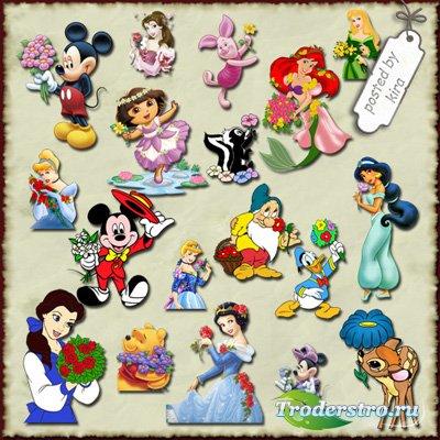 Детский клипарт  - Герои мультфильмов поздравляют с праздником, часть 1