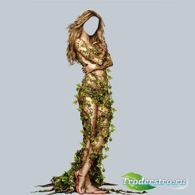 Шаблон psd - Девушка весна окутана листками