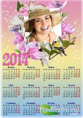 Весенний цветочный календарь с рамкой для фото - Женская красота