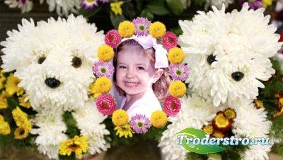 Детская рамка для фотошоп - Милые собачки из цветов