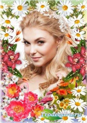Красивая цветочная рамка для фото - Весенняя нежность