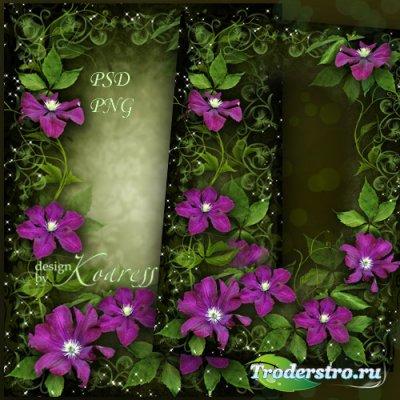 Рамка для фотошопа с цветами клематиса - Яркие, чудесные цветы