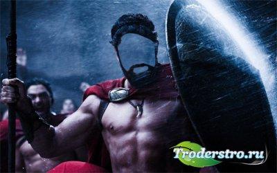 PSD шаблон для мужчин - Спартанец под дождем на поле боя
