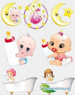 Клипарт- Мультяшные персонажи малышей на прозрачном фоне