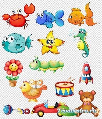 Клипарт- Мультяшные персонажи морские рыбки и детские игрушки на прозрачном ...