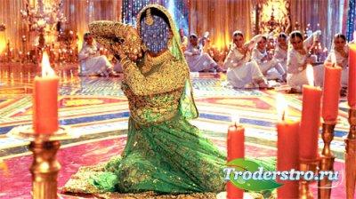 Шаблон для фотошопа - Танцовщица в ярком индийском наряде
