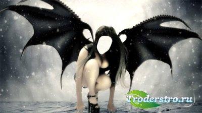Темный ангел с большими крыльями - шаблон для фотошопа