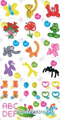 Векторные животные, алфавит, насекомые и цветы из шариков