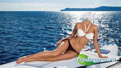 Шаблон для фотошопа - На яхте в море
