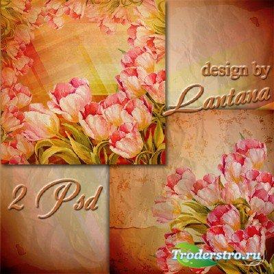 Многослойные фоны для фотошопа  - Тюльпаны в стиле винтаж