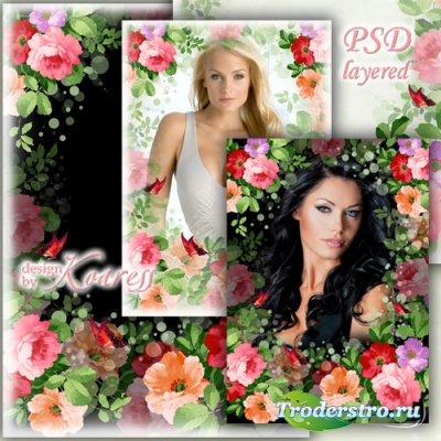 Женская рамка для романтических фото - И яркие, и нежные, прекрасные цветы