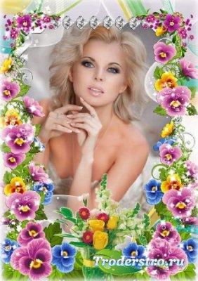 Цветочная рамка для фото - Очаровательные Анютины глазки