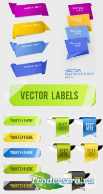 Green banners ribbons labels vector