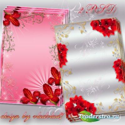 Цветочные фоторамки - Букет красных лилий