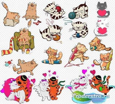Клипарт- Влюблённые кошки котята с клубками на прозрачном фоне