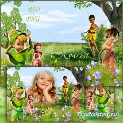 Детская фоторамка для девочек - На лесной поляне феи