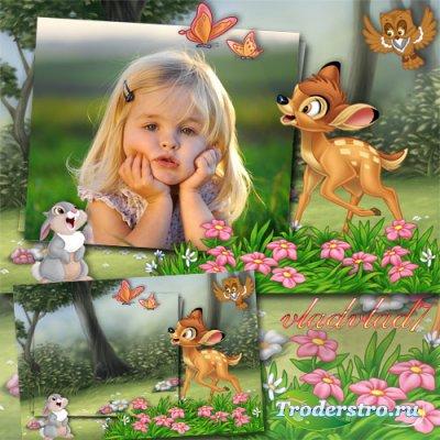 Детская фоторамка - Бэмби и заяц Тампер