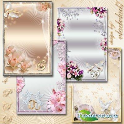 Свадебные фоторамки - Лилии и розы, свадебный букет