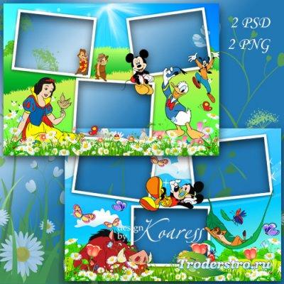 2 рамки для детских фото с вырезами на 3 фото - Были мы на пикнике