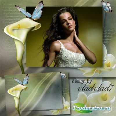 Винтажная рамка для фотошопа - Дивные каллы и бабочки
