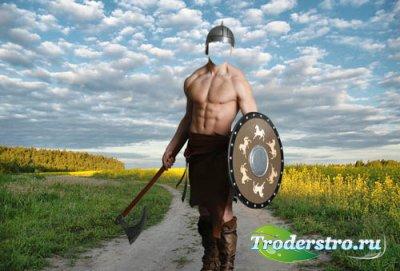 Шаблон для фотошопа - Воин в степях