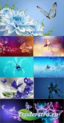 Фоны для дизайна - Цветы и бабочки