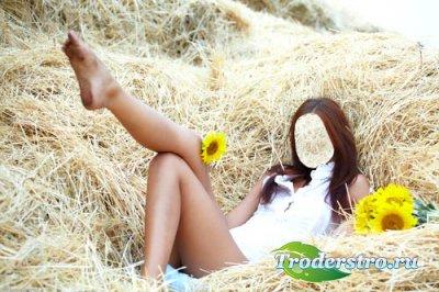 Женский шаблон - Фотосессия в сене с подсолнухами
