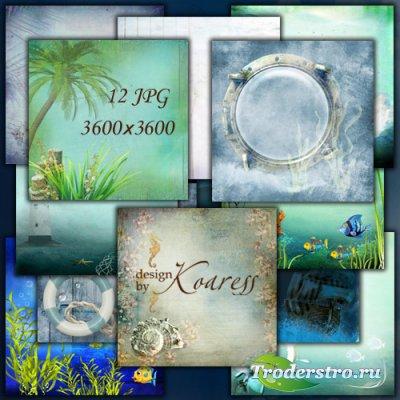 Набор морских фонов - Водоросли, пальмы, ракушки, чайки, рыбки