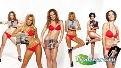 Рамка для фотомонтажа - Шесть ваших фото держат девушки