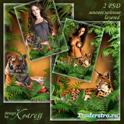 Многослойные рамки для женских портретов с большими кошками для фотошопа