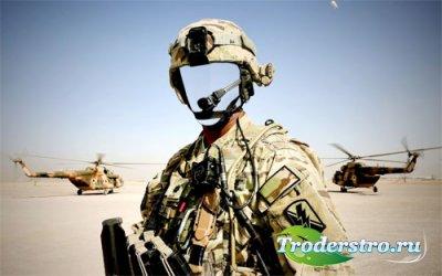 Солдат в форме - PSD шаблон для мужчин